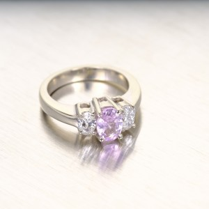 Peter Suchy 14K White Gold with 0.88ct. Sapphire and 0.50ct. Diamond Engagement Ring Size 5.5