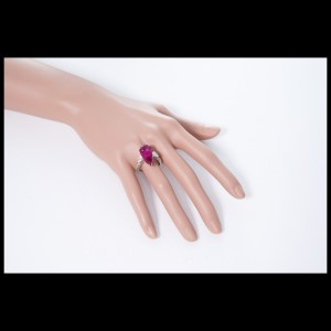 14K White Gold Diamond Rubellite Pink Tourmaline Ring Size 8