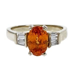 18K White Gold Vivid Orange Diamonds Garnet Ring Size 7.5