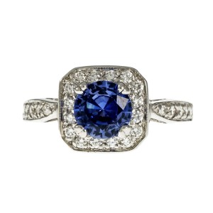 14K White Gold Violet Blue Sapphire Halo Ring Size 6.5