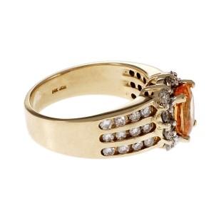 Estate Spessartite Garnet Oval Halo Diamond Ring 14k Yellow Gold