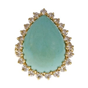 18K Yellow Gold with Turquoise & 0.69ct Diamond Ring Size 6.25