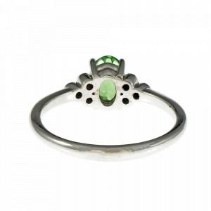 14K White Gold Vivid Green Tsavorite Diamond Ring Size 6.75