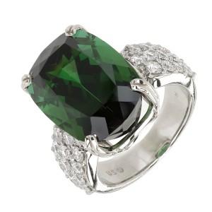 14k White Gold 19.30ct Green Tourmaline Diamond Vintage Ring Size 8.75 1950s