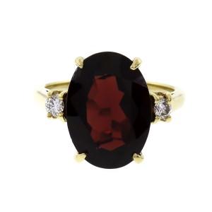 Estate 7.00ct Oval Garnet Ring 18k Gold Diamond