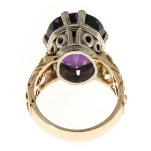 14k Yellow Gold Deep Purple 18.93ct Amethyst Open Swirl Design Ring Size 9.5
