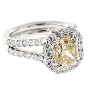 Platinum Yellow and White Diamond Ring Size 6.5