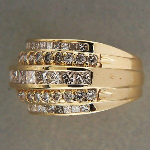 14k Yellow Gold Vintage 2.15ct 5 Row Channel Set Diamond Ring Size 9.5