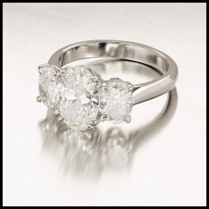 Peter Suchy Platinum with 2.01ct Ideal Cut Oval 3 Stone Diamond Engagement Ring Size 6.75