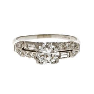 Vintage Platinum with .77ct Diamond Engagement Ring Size 3.75