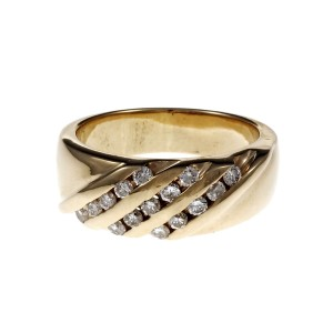 14K Yellow Gold with 0.45ct Diamond Band Ring Size 8.75