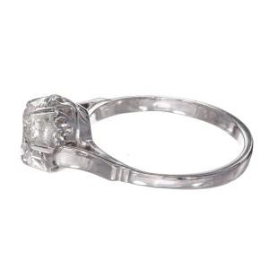 .85ct Round Diamond Antique Platinum 14k White Gold Engagement Ring