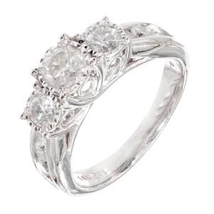 1.64 Carat Diamond Three-Stone White Gold Engagement Ring