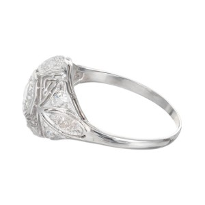 25.00ct Diamond Filigree Art Deco Platinum Engagement Ring