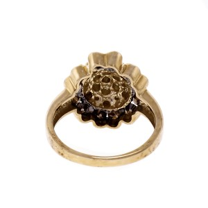 Brown Yellow Diamond 10k Yellow Gold Cocktail Cluster Ring