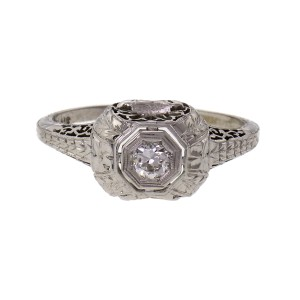 Belais Art Deco Diamond Engagement Ring 18k White Gold