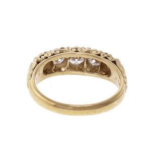Fire Diamond Yellow Gold Wedding Band Ring