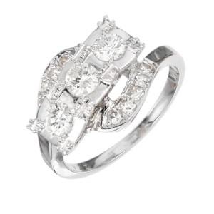 .50 Carat Diamond White Gold Three-Stone Swirl Engagement Ring