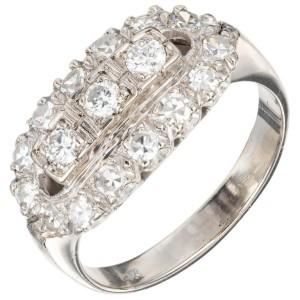 1.00 Carat Diamond White Gold Vintage Oval Cluster Ring