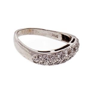 Diamond Swirl Design 18k White Gold Band