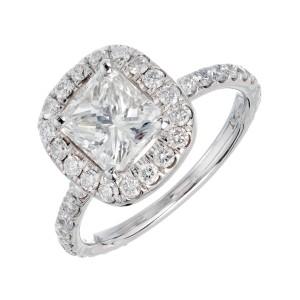 Peter Suchy GIA Certified 1.64 Carat Diamond Platinum Engagement Ring