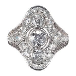 EGL Certified .86 Carat Diamond Three-Stone Edwardian Platinum Dome Ring