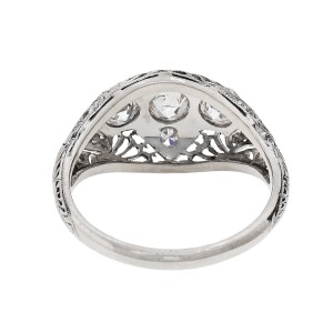 Vintage 1930 Filigree Diamond Dome Ring 14k White Gold