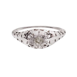 Vintage 1930 Filigree Engagement Ring Old Mine Cut Diamond 14k White Gold