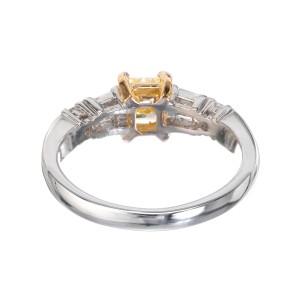 GIA Certified .75 Carat Yellow Diamond Platinum Gold Engagement Ring