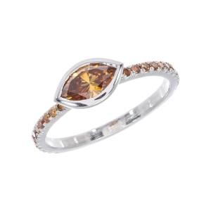 Peter Suchy GIA certified .67 Carat Brown Diamond Platinum Engagement Ring