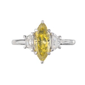 Peter Suchy GIA Certified .96 Carat Yellow Diamond Platinum Engagement Ring