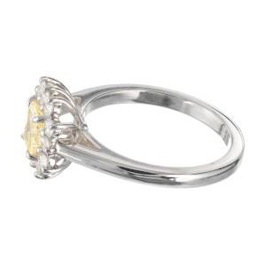 Peter Suchy GIA Certified .55 Carat Yellow Diamond Platinum Engagement Ring