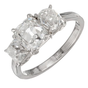 GIA Certified 2.87 Carat Diamond Three-Stone Platinum Ring