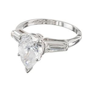 GIA Certified 2.25 Carat Diamond Platinum Engagement Ring
