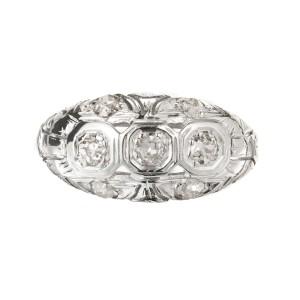 .42 Carat Diamond 18k Yellow Gold Art Deco Dome Ring