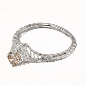 GIA Certified .54 Carat Light Brown Diamond Platinum Ring