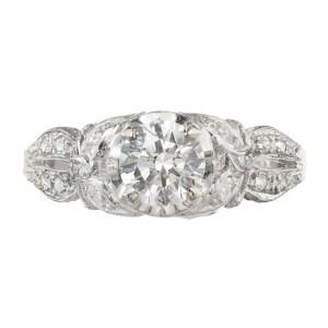EGL Certified .77 Carat Diamond Platinum Art Deco Engagement Ring