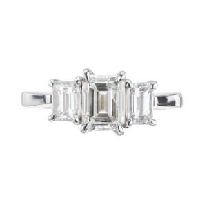Peter Suchy GIA Certified 1.83 Carat Diamond Platinum Three Stone Ring