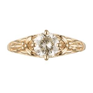 EGL Certificate .92 Carat Diamond Yellow Gold Engagement Ring