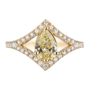 Peter Suchy GIA Certified .70 Carat Yellow Diamond Gold Engagement Ring
