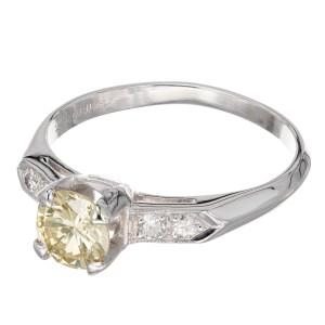 GIA Certified .77 Light Brown Yellow Diamond Platinum Engagement Ring