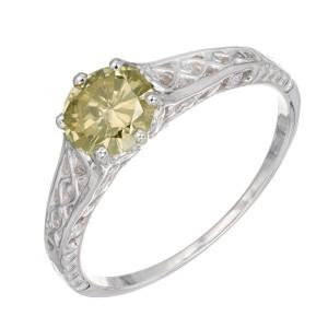 GIA Certified .65 Carat Yellow Diamond White Gold Engagement Ring