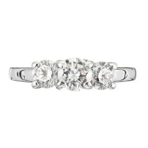 EGL Certified 1.20 Carat Diamond White Gold Three-Stone Engagement Ring