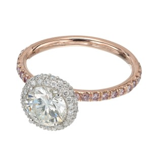 Peter Suchy .96 Carat Round Diamond Halo Rose Gold Solitaire Engagement Ring