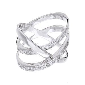 3 Row Diamond and Cris Cross Fashion Ring 14K White Gold
