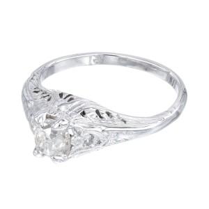 EGL Certified .55 Carat Diamond White Gold Engagement Ring