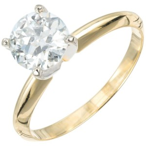 Peter Suchy GIA Certified 1.09 Carat Diamond Gold Solitaire Engagement Ring