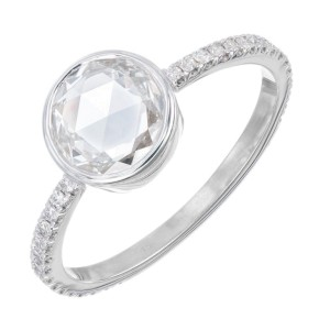 Peter Suchy GIA Certified .77 Carat Diamond White Gold Engagement Ring