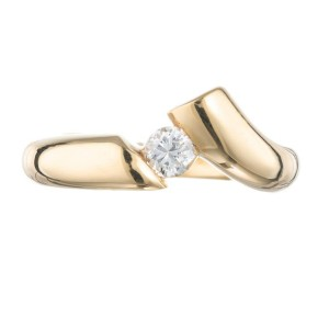 .19 Carat Diamond Yellow Gold Asymmetrical Ring