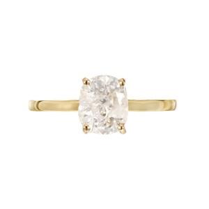 EGL 1.80 Carat Cushion Cut Diamond Clarity Enhanced Yellow Gold Engagement Ring